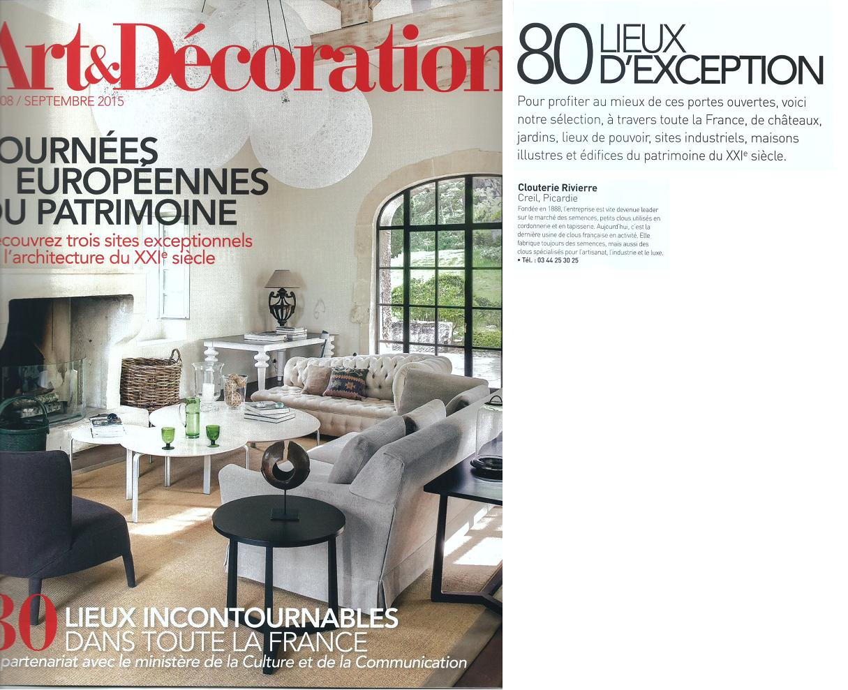 Articles de presse clouterie rivierre for Art et decoration magazine feuilleter