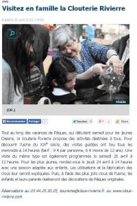 Le Parisien 15 04 2014 visites familles Paques
