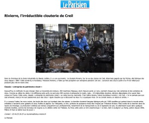 Le parisien - août 2014 - L'irréductible clouterie de Creil